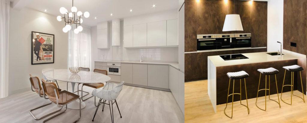 Las lámparas suspendidas y el mobiliario auxiliar sillas, taburetes) nos ayudarán a rematar el diseño de la cocina y dar nuestro toque más personal